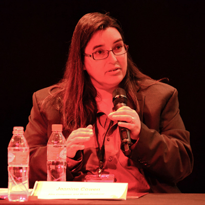Jeanine during a Women in Music panel discussion in Valencia Spain