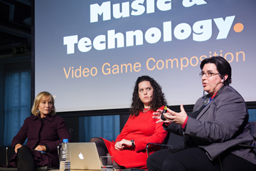Jeanine with composers Nan Schwartz and Vanessa Garde discussing music technology in Madrid Spain